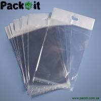 Полипропиленовые прозрачные пакеты с европодвесом, евро слотом, клапаном липкой лентой