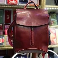 Женский кожаный рюкзак трансформер в бордовом цвете, новинка