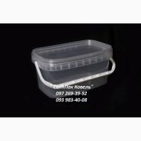 Пластикове відро харчове 3л. прямокутне, з ручкою